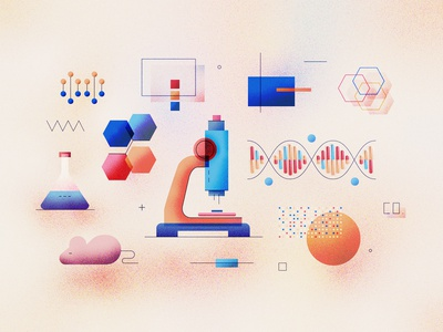 Genome Analysis Illustration vector textured technology science microscope laboratory illustration icon grainy gradient genome genetics flat dna design data concept biotechnology analysis abstract