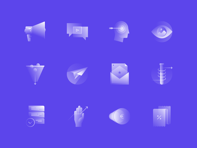 Alpha Icons / Marketing Set web research contact campaign clean promotion marketing communication human business simple symbol gradient icon concept design illustration flat abstract vector