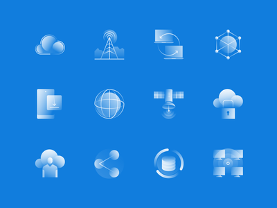 Alpha Icons / Network Set technology database satellite worldwide global set computer cloud mobile data connection network communication symbol gradient icon flat design vector illustration