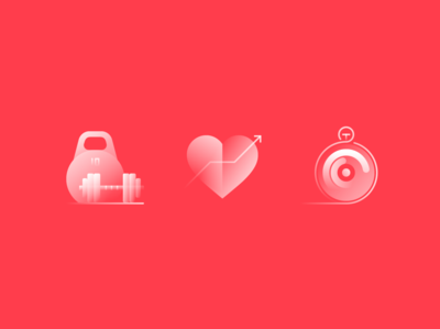Alpha Icons / Fitness weight gym set stopwatch heart app sports sport fitness logo simple symbol icon gradient concept flat design abstract illustration vector
