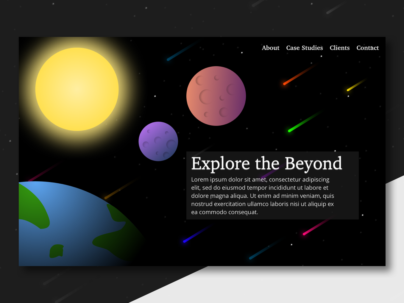 Explore the Beyond - Landing Page Concept concept app app web ux universe vector dailyui ui ui challange design sketch app