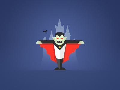 Dracula illustration icon flat dracula castle bat