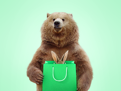 Bear and hare forest taiga shoping rabbit package market hare green cart bear