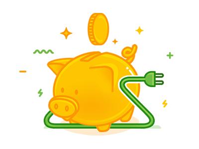Energy Saving Icon plug cable coin pig save energy icon