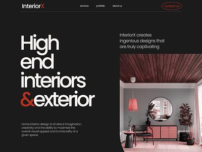 InteriorX - Interior Design Landing Page interiordesign architecture website landing page interior architecture interior design ui design typography ux