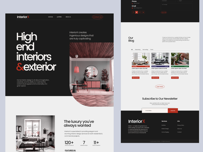 InteriorX - Interior Design Website interior design website interiordesign interior architecture architecture website typography ux ui design landing page interior design