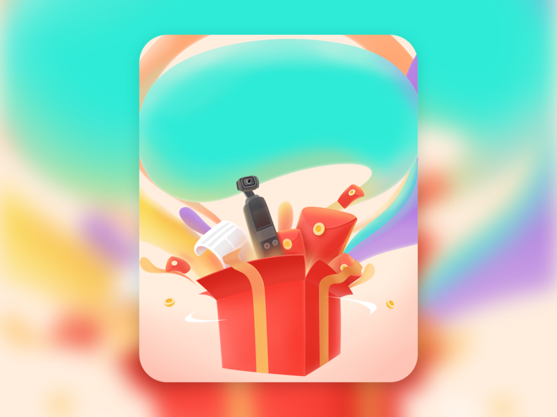 raffle pseudo-3d giftbox illustration raffle