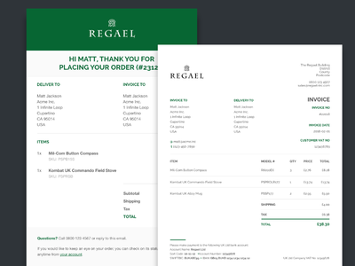Invoice & Order Email Designs templates web design invoice email