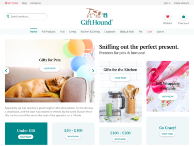 Gift Hound WIP pets presents gifts design ui web ecommerce design