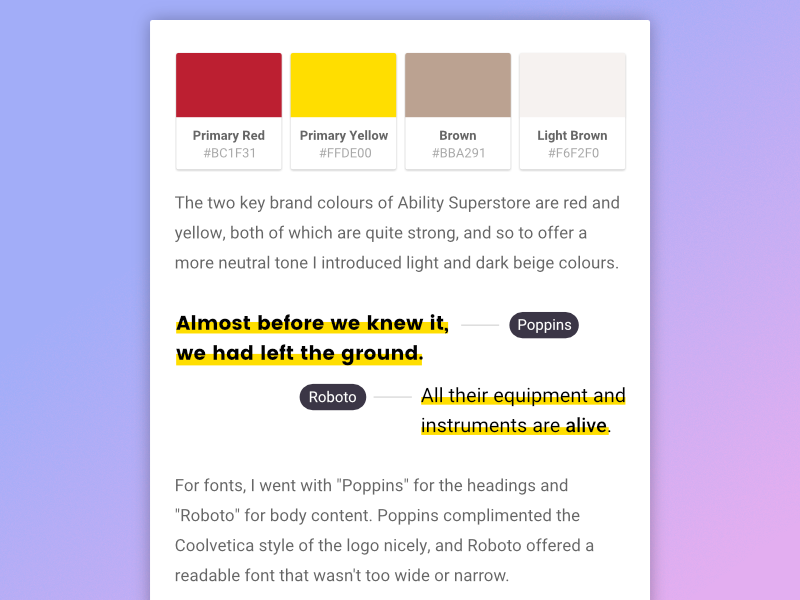 Colour Palette & Type fonts swatches colours ui typography