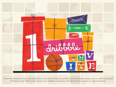 1 Dribbble Invite to Giveaway! christmas gift invite giveaway dribbble invite design debut