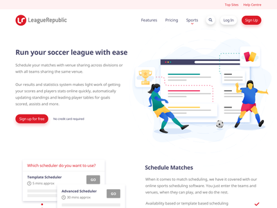 The finished LeagueRepublic UI design ui web illustration