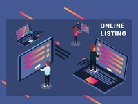 Online Listing of People Surfing the Web Isometric Artwork