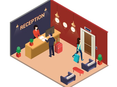 Hotel Lobby where people are Checking in Isometric Artwork