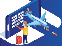 Man Booking Airplane Tickets online Isometric Artwork