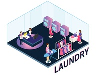 People in a Laundry working around Isometric Artwork
