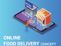 Online Food Delivery Concept Isometric Artwork