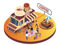 Coffee Food Truck Isometric Artwork