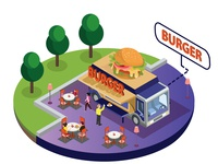 Burger Food Truck Isometric Artwork