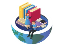 Isometric Education Artwork Concept