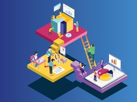 Isometric Artwork Concept of Teamwork