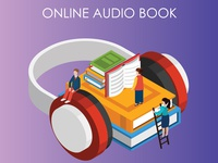 Isometric Artwork Concept of Online Audio Book