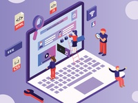Isometric Artwork Concept of Web Designing