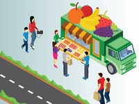 Isometric Artwork Concept of Fruit Truck