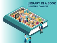 Isometric Artwork Concept of Library In A Book