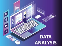 Isometric Artwork Concept of Data Analysis
