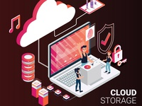 Isometric Artwork Concept of Cloud Storage