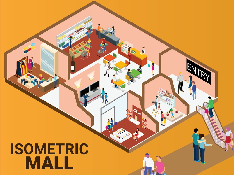 Isometric Artwork Concept of Shopping Mall. isometric illustration isometric isometric design facade estate elements design customer construction commercial collection city center business buildings building boutique background architecture 3d