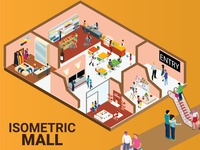 Isometric Artwork Concept of Shopping Mall.