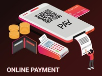 Isometric Artwork Concept of Mobile Payment