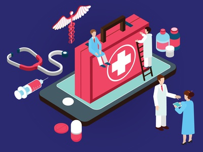Isometric Artwork Concept of Online Medical Service