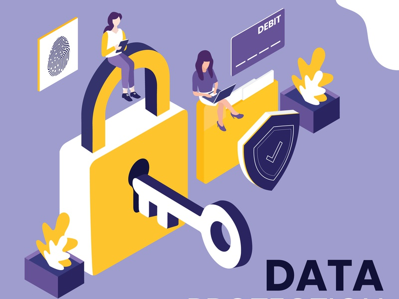 Data Protection isometric design design isometric hack general flat finance eu data crime connection confidential concept computer code cloud character business background access