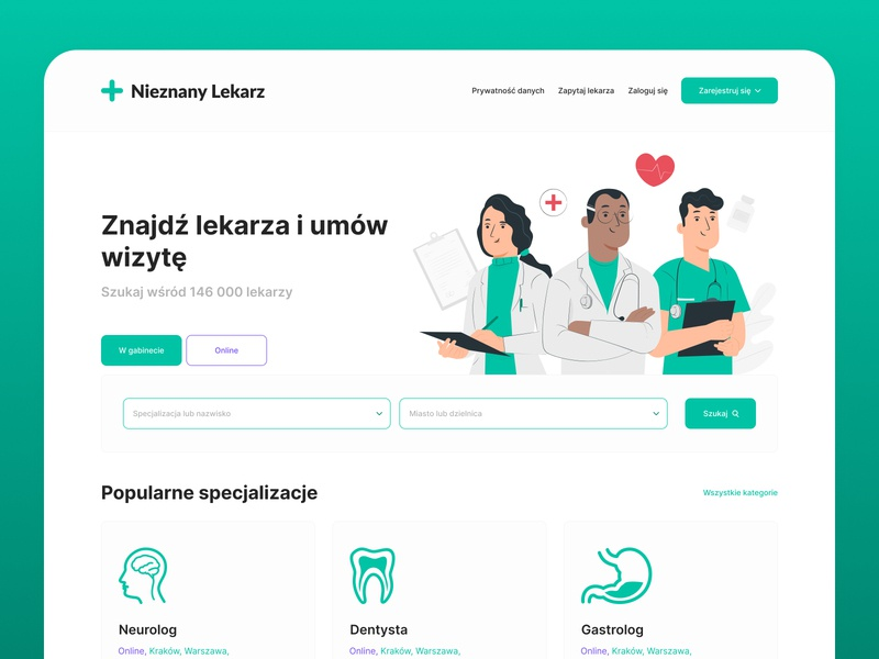 Znanylekarz.pl - redesign concept poland landing page ux ui stylo website web