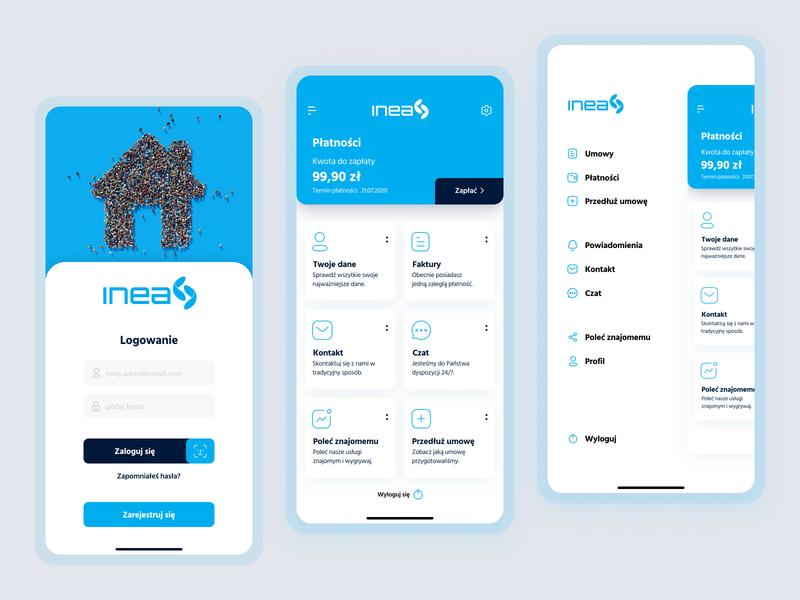 INEA concept app app design app poland inea mobile app mobile ui ux ui