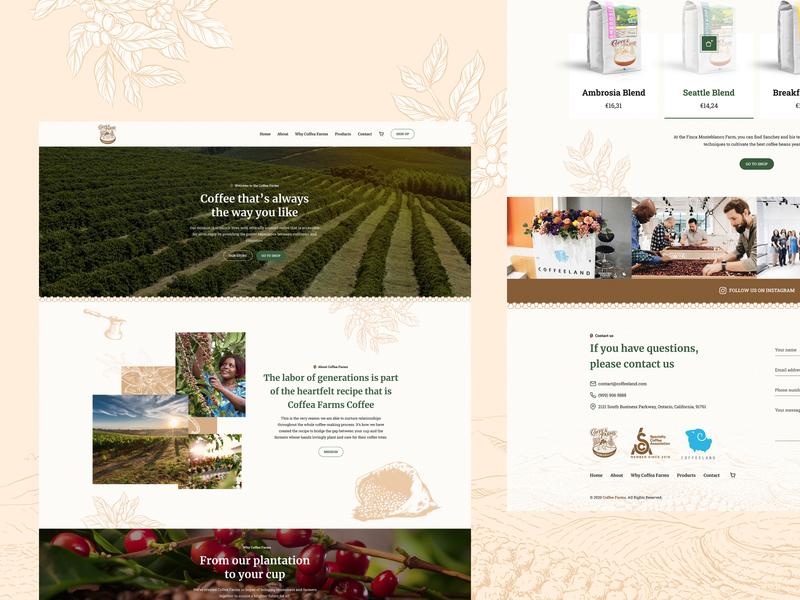 Coffea Farms stylo poland farmer farm coffee web design website web landing page design ux ui