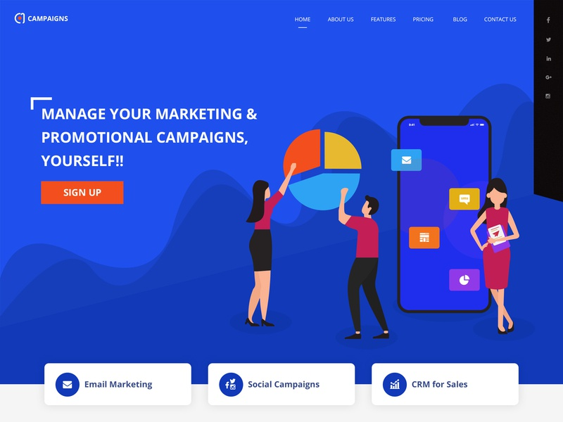 Campaign Marketing Landing Page ux design marketing campaign marketing website marketing landing page ui concept