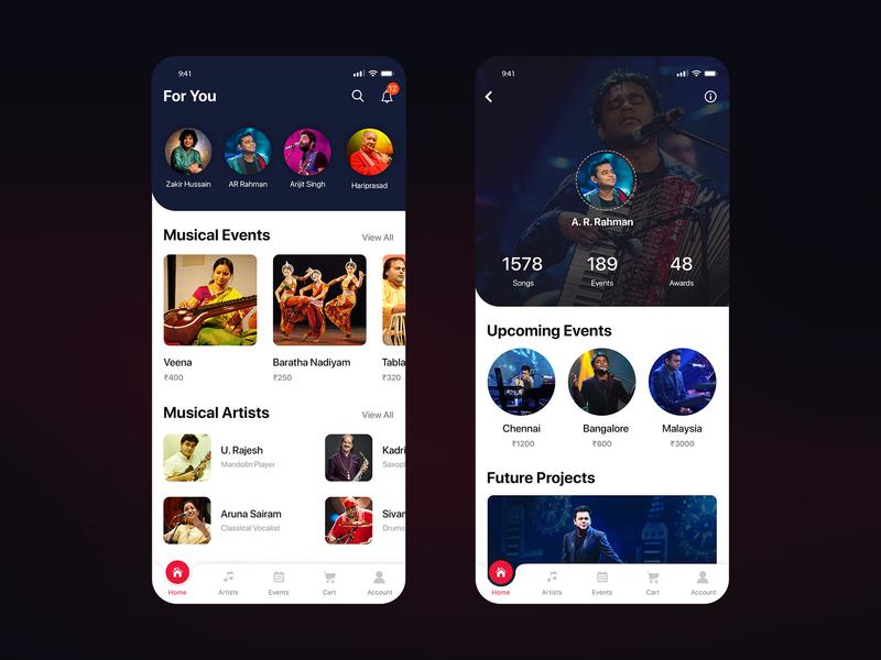 Music App music artist music app design mobile application design design concept mobile app design ux ui design ux design ui  ux design ui concept