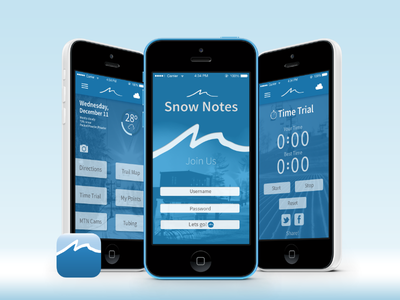 Mad River Mountain App Design Concept - Mockup  app design mountain icon mockup harmer mobile snow notes 5c c iphone