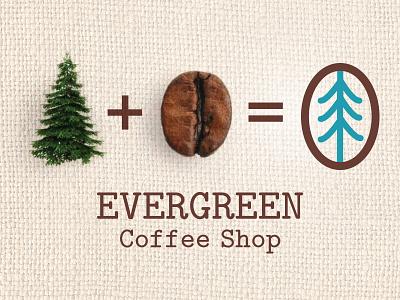 Evergreen Coffee Shop Branding burlap print design bean evergreen tree coffee concept logo brand