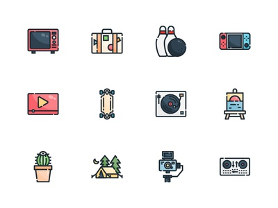 Hobbies and Free Time app vlog camp cactus logo set illustration design vector flat color icon filled icon lifestyle line outline filled hobbies free time hobby