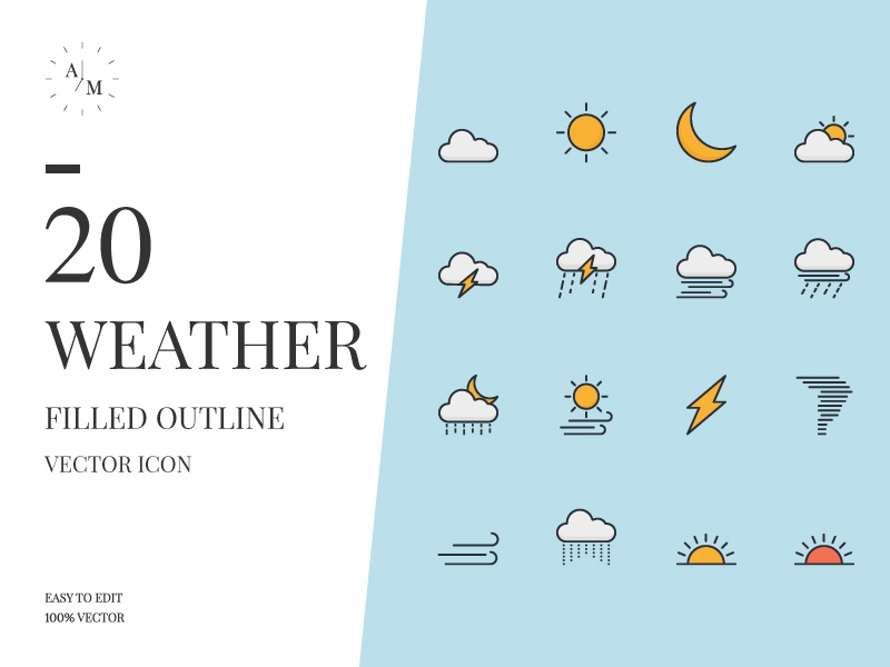 Weather Icon Set web minimal flat design vector ux ui app illustration icon weather