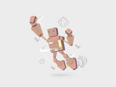Cardboard Robot vector design ui web illustration
