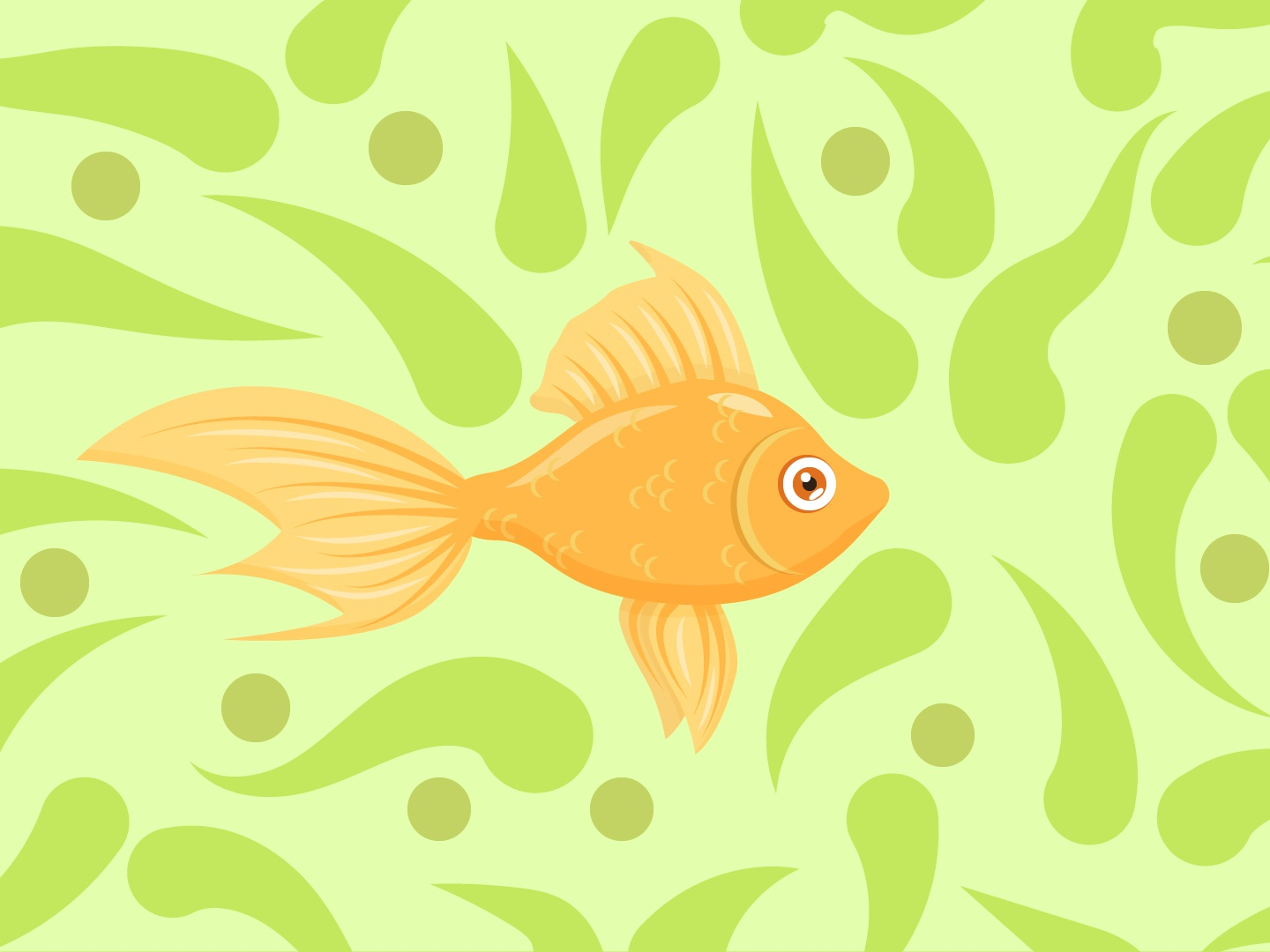 gold fish seaweed aquarium fairy tale water orange gold gold fish fish illustration vector