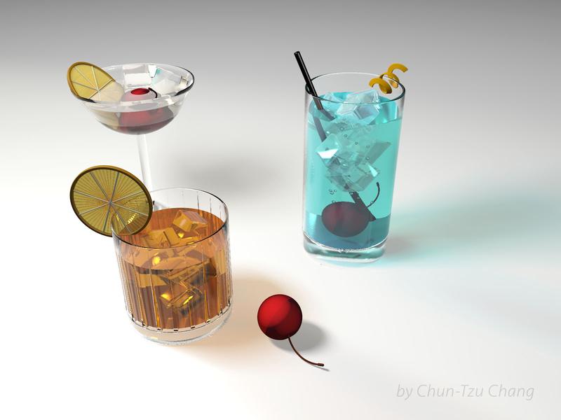C4D Practice - Material: Drinks 🥃🍹🍸 🍸 🍹 🥃 3dtexture 3d texture 3d modeling 3d design drinks drink 3d drinks cinema 4d cinema4d c4dart c4d 3d art 3d