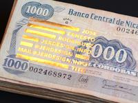 Details business card letterpress gold money nicaragua foil logo sort type cordoba bill