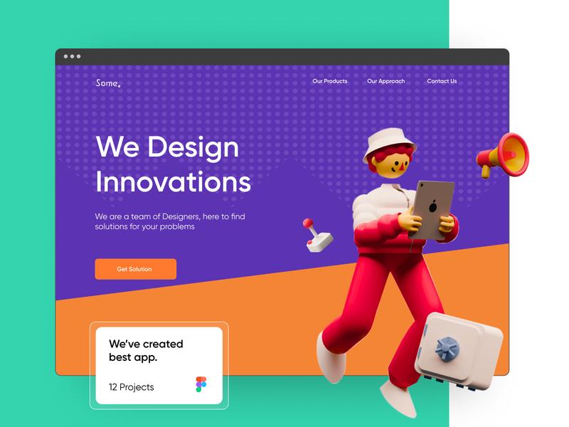 Some minimal graphic design 3d web typography ux userinterface illustration website ui design